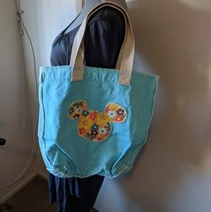 floral mickey mouse disney tote bag